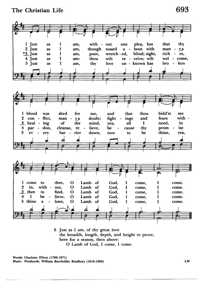Lyric just as i am without one plea lyrics : Hymnal 1982: according to the use of the Episcopal Church 693 ...