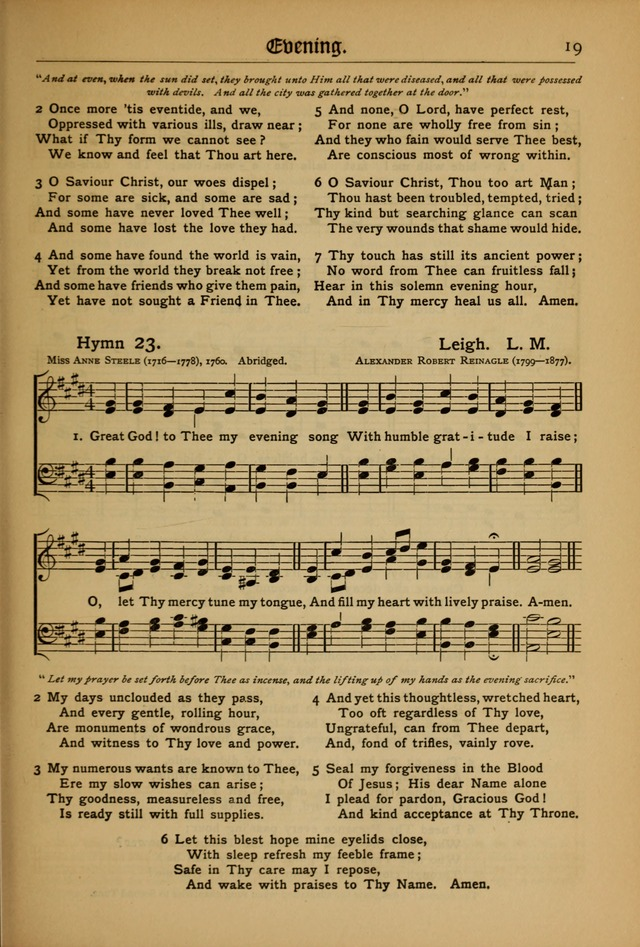 The Evangelical Hymnal with Tunes 23. Great God! to Thee my evening ...