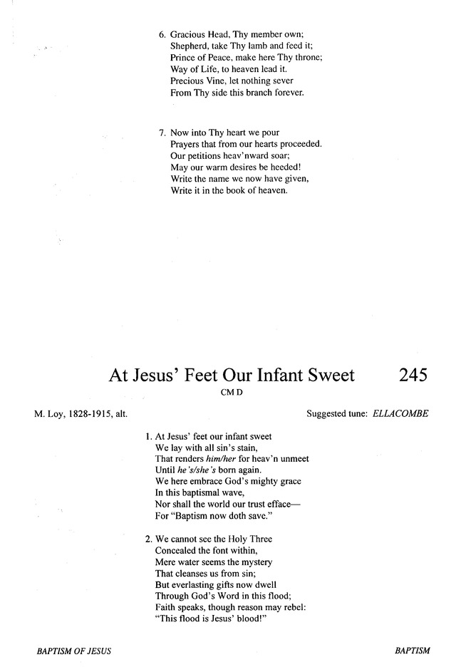 Evangelical Lutheran Hymnary 245  At Jesus' feet our infant
