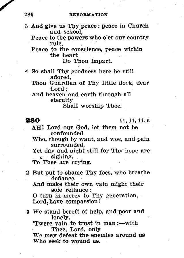 Evangelical Lutheran Hymn-book 280  Ah! Lord our God, let them not
