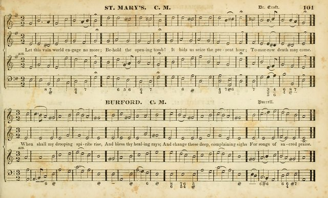 Evangelical Musick: or, The Sacred Minstrel and Sacred Harp United: consisting of a great variety of psalm and hymn tunes, set pieces, anthems, etc. (10th ed) page 101