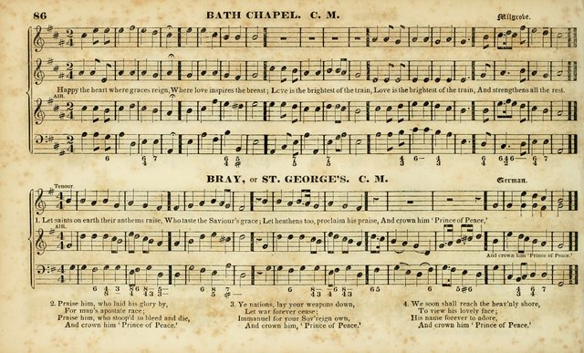 Evangelical Musick: or, The Sacred Minstrel and Sacred Harp United: consisting of a great variety of psalm and hymn tunes, set pieces, anthems, etc. (10th ed) page 86