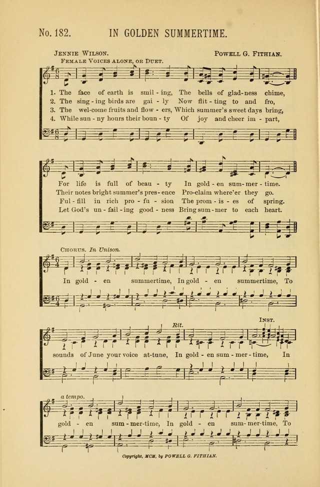 Exalted Praise: a twentieth century collection of sacred hymns for the church, Sunday school, and devotional meetings page 182