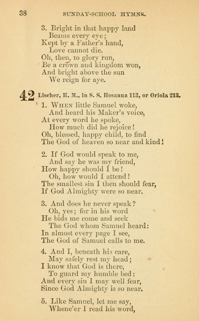 The Eclectic Sabbath School Hymn Book page 38
