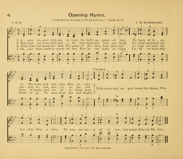 Gates Ajar: a collection of hymns and tunes for use in Sunday schools, praise and prayer meetings page 4