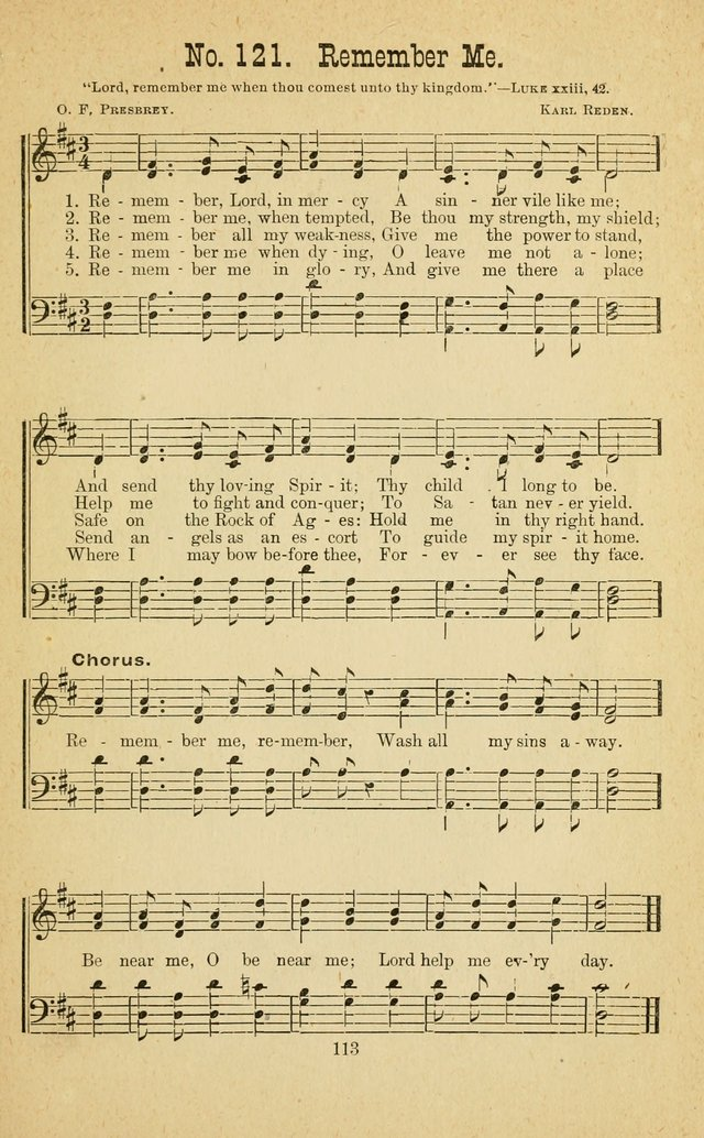 Gospel Bells: a collection of new and popular songs for the use of Sabbath schools and gospel meetings page 113