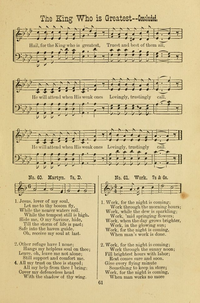 Gospel Bells: a collection of new and popular songs for the use of Sabbath schools and gospel meetings page 61