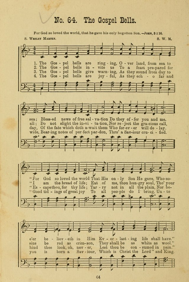 Gospel Bells: a collection of new and popular songs for the use of Sabbath schools and gospel meetings page 64