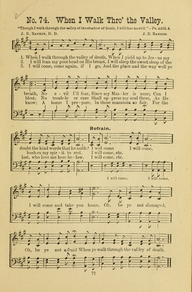 Gospel Bells: a collection of new and popular songs for the use of Sabbath schools and gospel meetings page 71