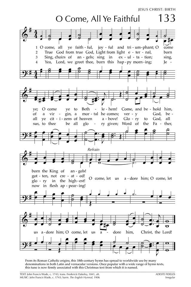 Glory to god the presbyterian hymnal 133 o come all ye faithful glory to god the presbyterian hymnal 133 o come all ye faithful hymnary m4hsunfo