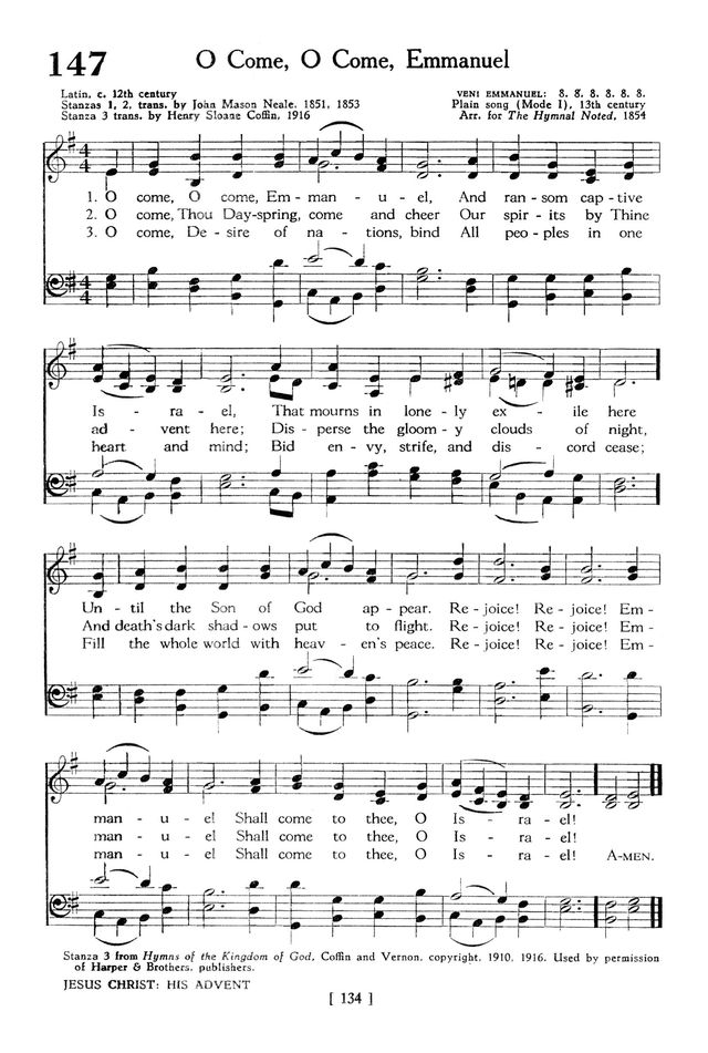 The Hymnbook 147. O come, O come, Emmanuel | Hymnary.org