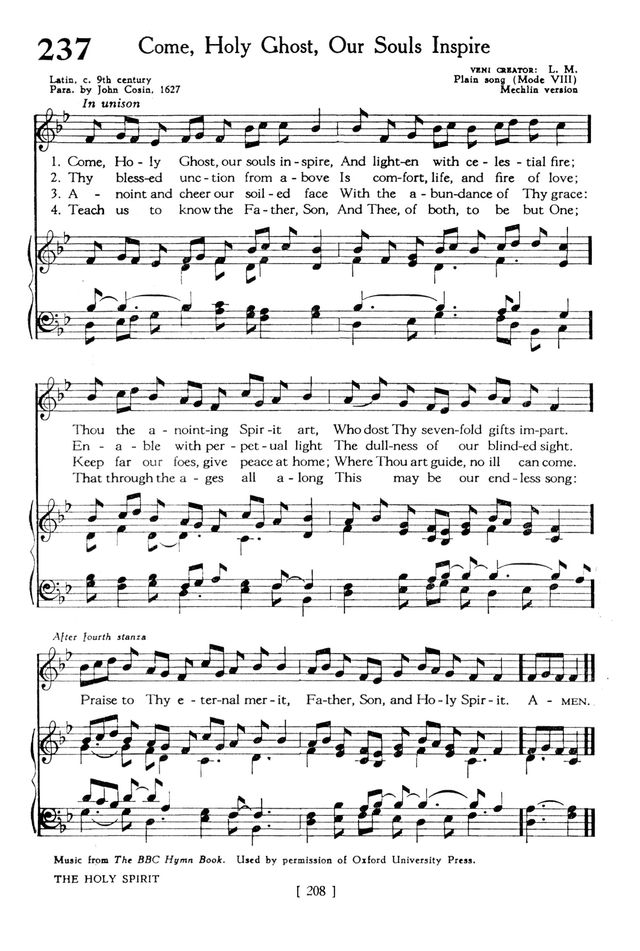 All Music Chords siyahamba sheet music : The Hymnbook 237. Come, Holy Ghost, our souls inspire | Hymnary.org
