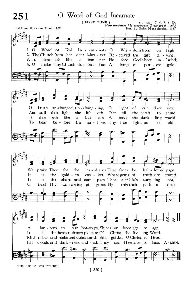 The Hymnbook 251. O Word of God Incarnate | Hymnary.org