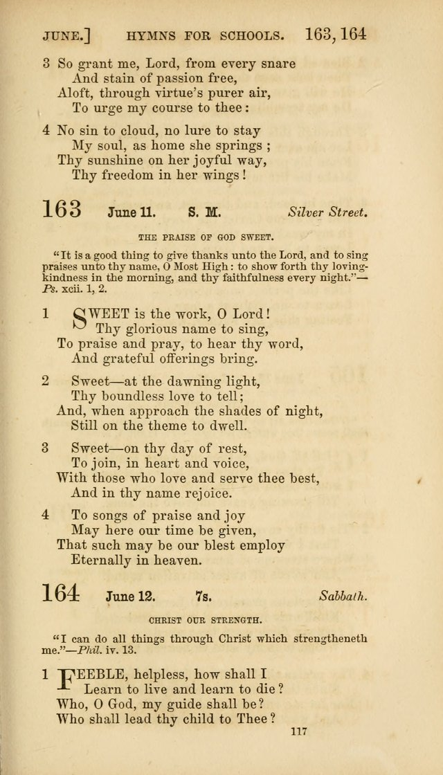 Hymns for Schools: with appropriate selections from scripture and tunes suited to the metres of the hymns (3rd ed.) page 117
