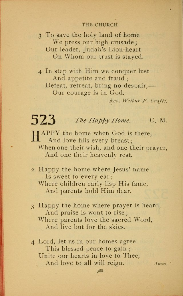 Hymn Book of the United Evangelical Church 523  Happy the home when