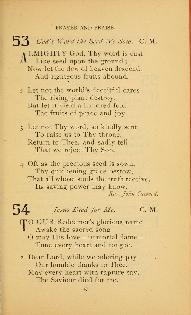Hymn Book of the United Evangelical Church page 47