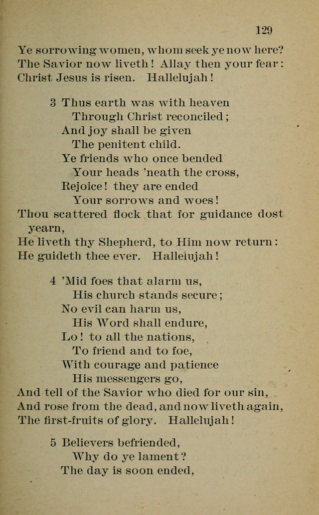 Hymnal: for churches and Sunday-schools of the Augustana Synod page 129