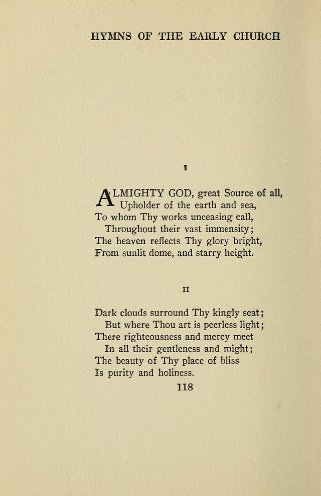 Hymns of the Early Church: translated from Greek and Latin sources; together with translations from a later period; centos and suggestions from the Greek; and several original pieces page 118