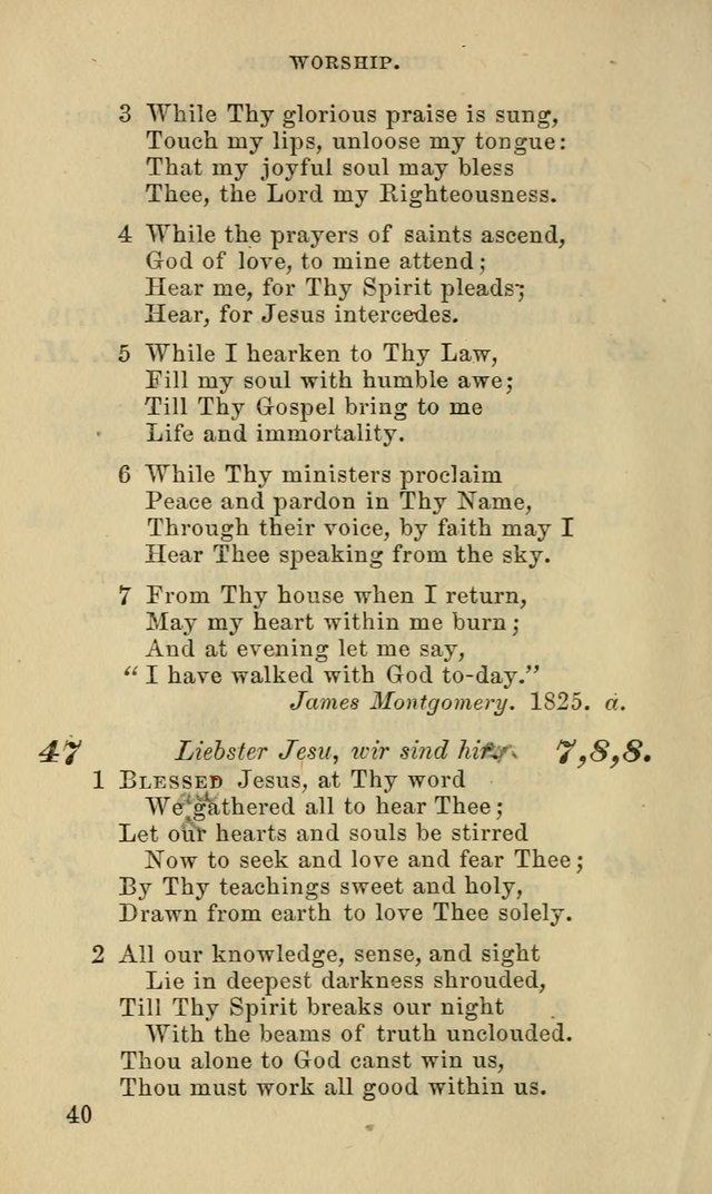 Hymns for the use of the Evangelical Lutheran Church, by the Authority of the Ministerium of Pennsylvania page 40