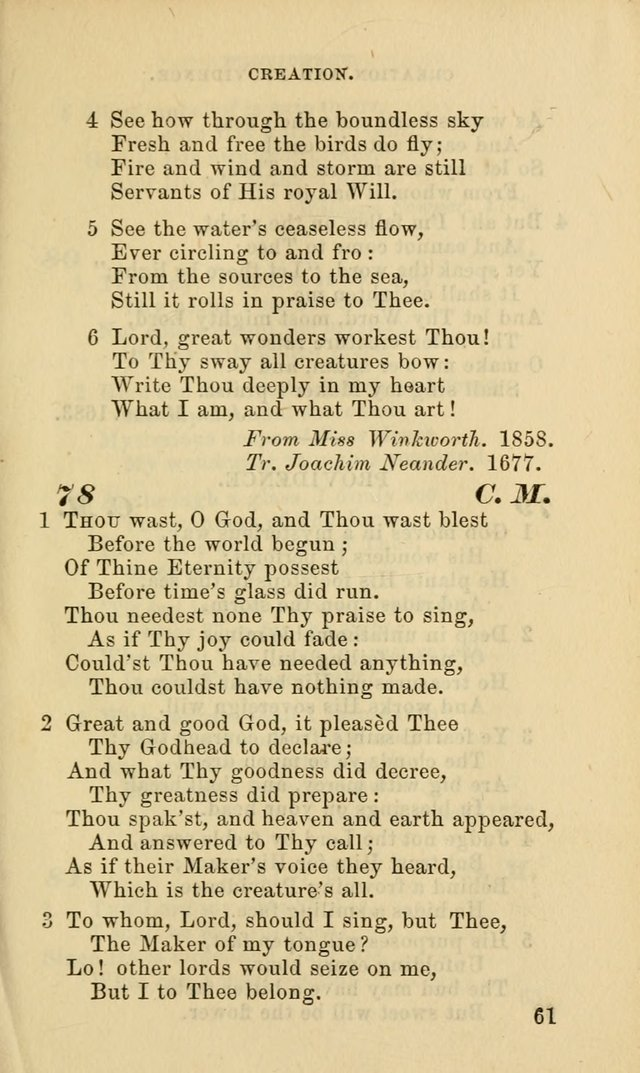 Hymns for the use of the Evangelical Lutheran Church, by the Authority of the Ministerium of Pennsylvania page 61