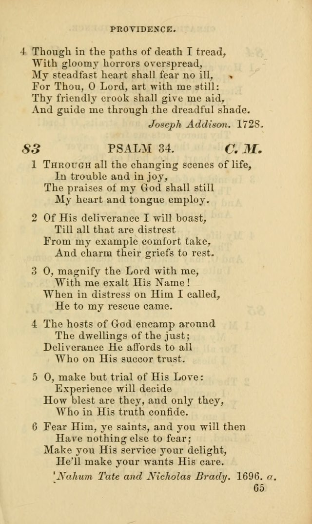 Hymns for the use of the Evangelical Lutheran Church, by the Authority of the Ministerium of Pennsylvania page 65