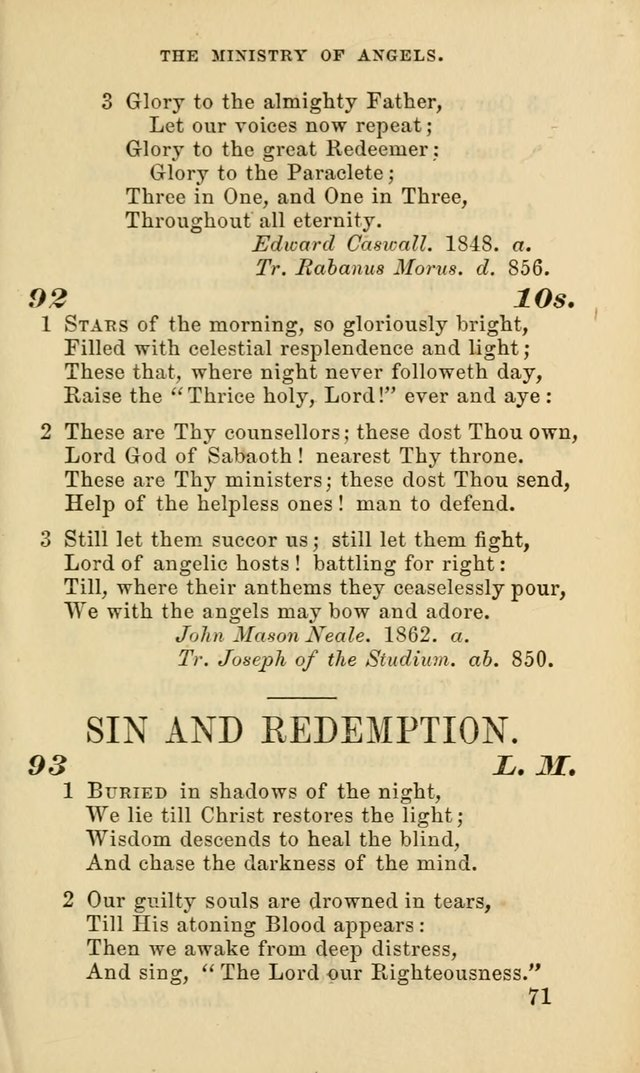 Hymns for the use of the Evangelical Lutheran Church, by the Authority of the Ministerium of Pennsylvania page 71