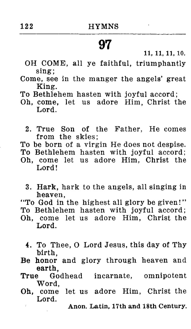 Hymnal for Church and Home (2nd ed ) 97  Oh come, all ye