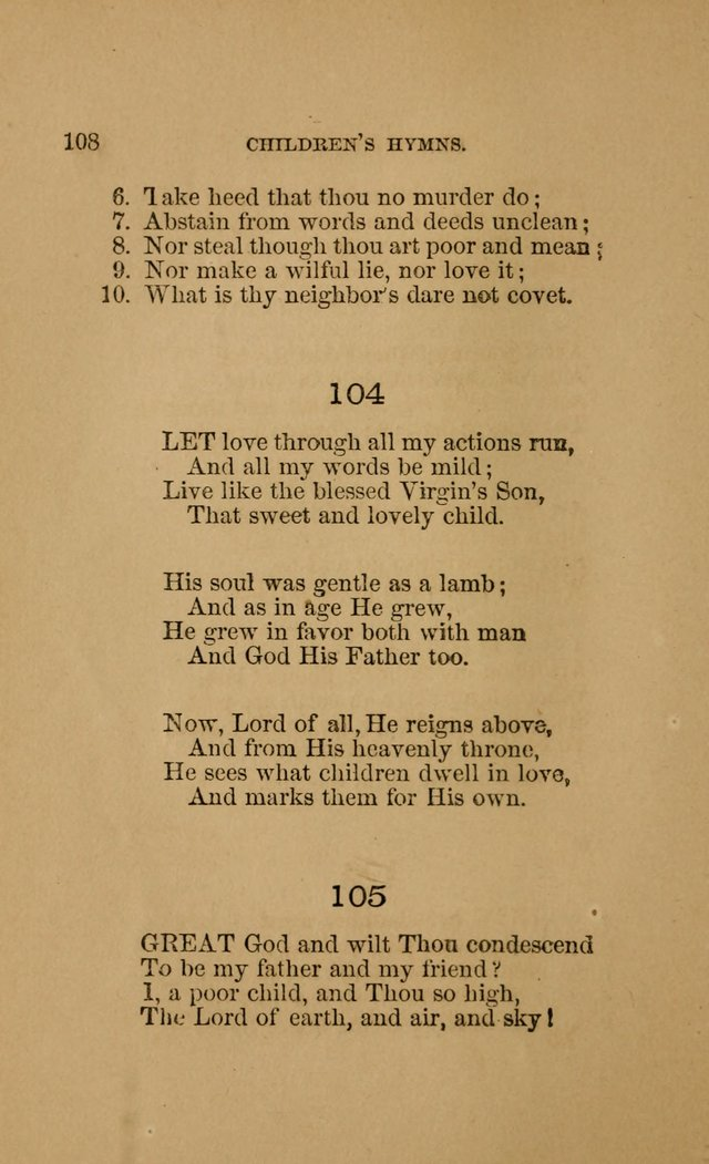 Hymns for First-Day Schools (Rev. and Enl.) page 108