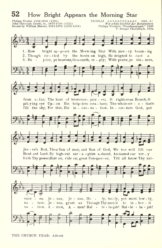 Hymnal and Liturgies of the Moravian Church 52  How bright appears