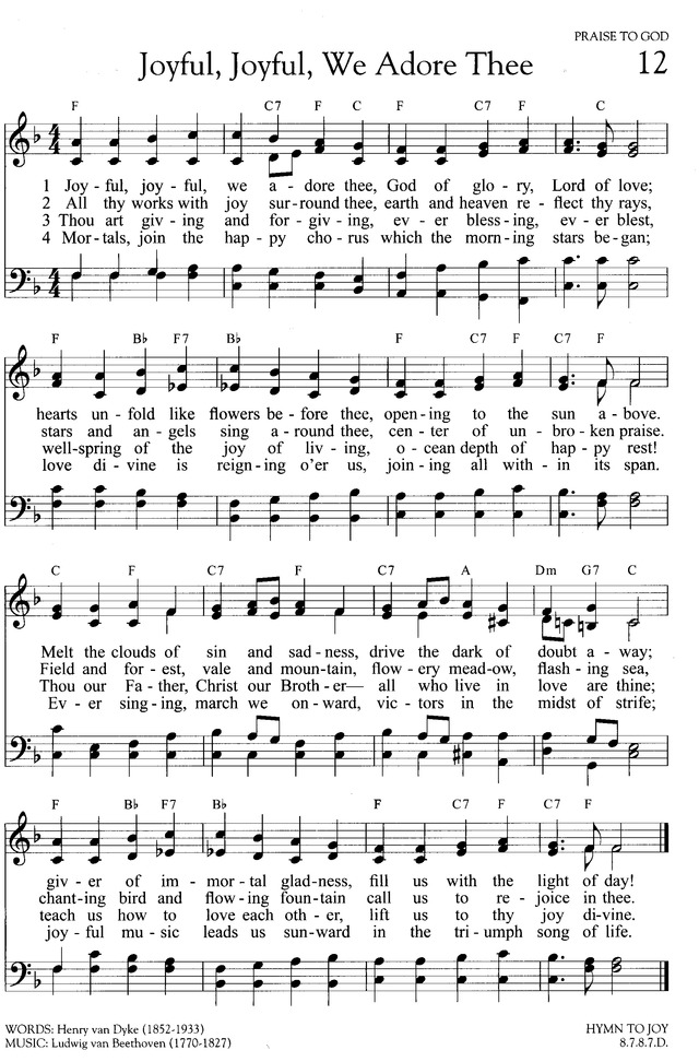 Joyful Joyful We Adore Thee Hymnary