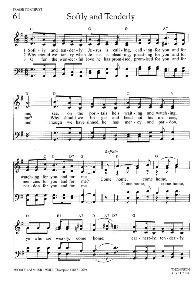 Softly and Tenderly Jesus Is Calling | Hymnary.org