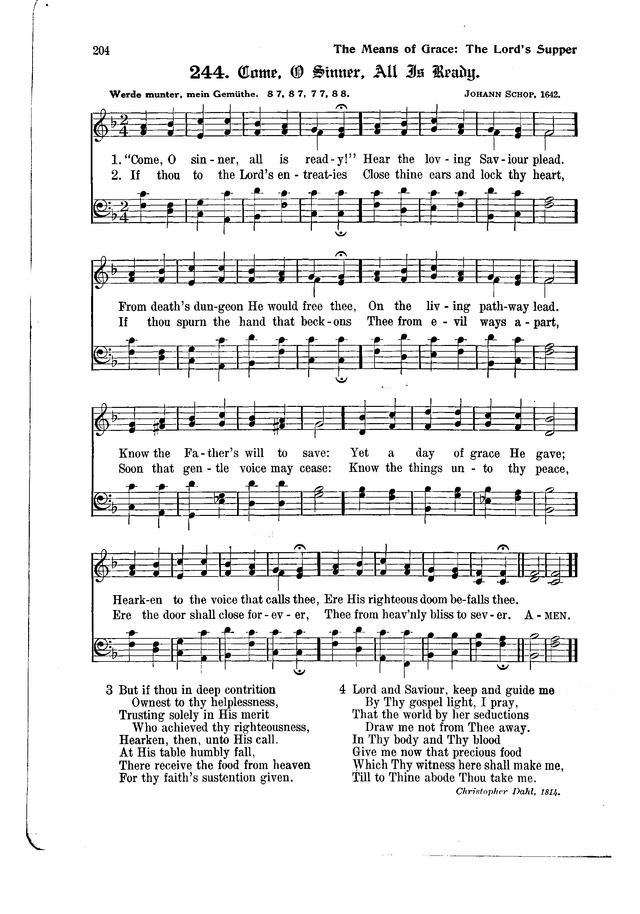The Hymnal and Order of Service page 204