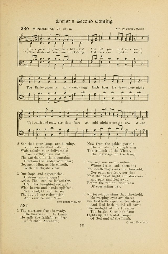 Hymns, Psalms and Gospel Songs: with responsive readings page 111