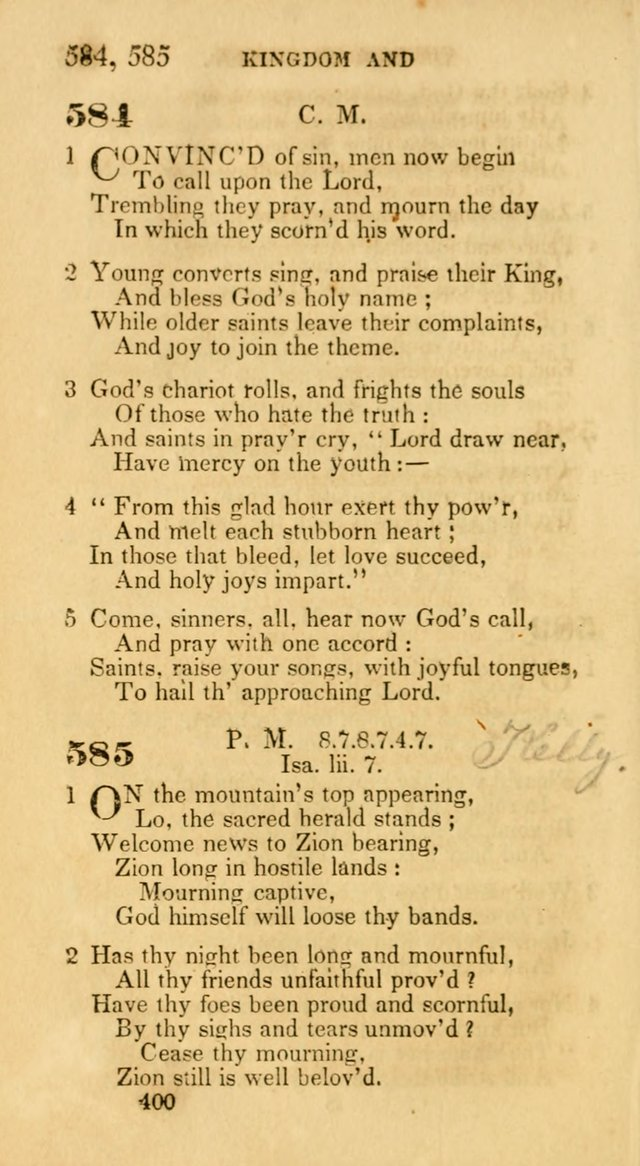 Hymns: selected and original, for public and private worship (30th ed.) page 400