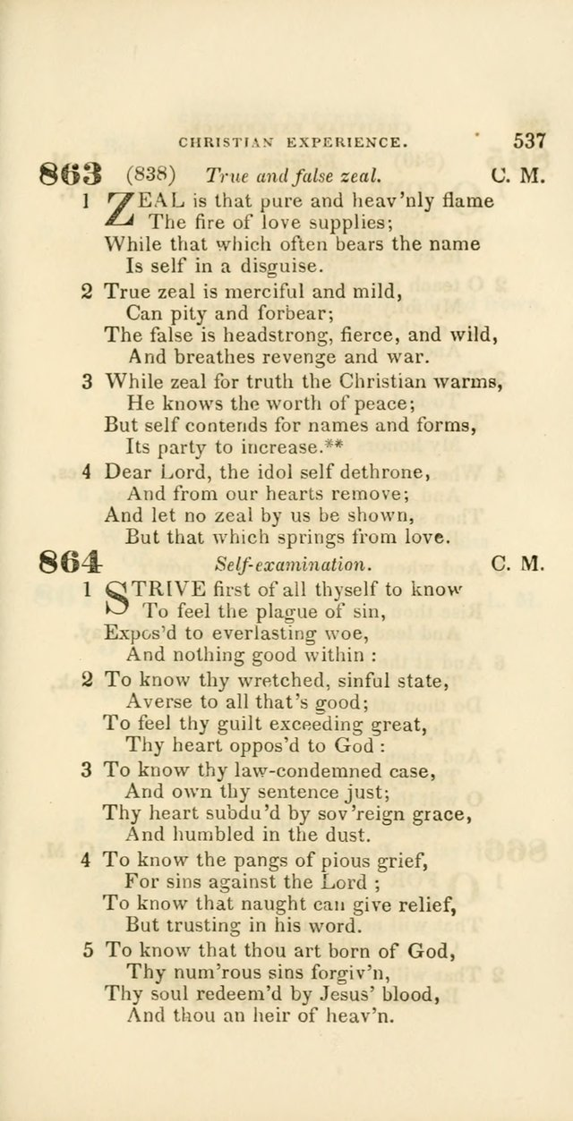 Hymns: selected and original, for public and private worship (60th ed., 1st rev. ed.) page 537
