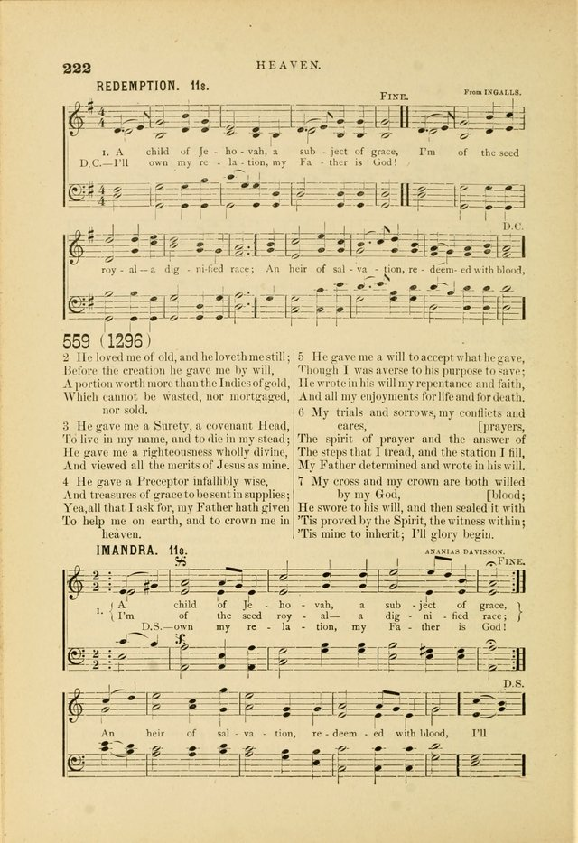 Hymn and Tune Book for Use in Old School or Primitive Baptist Churches page 222