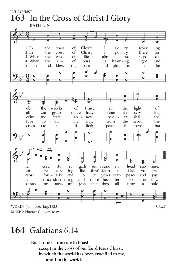 Hymns to the Living God 163  In the cross of Christ I glory