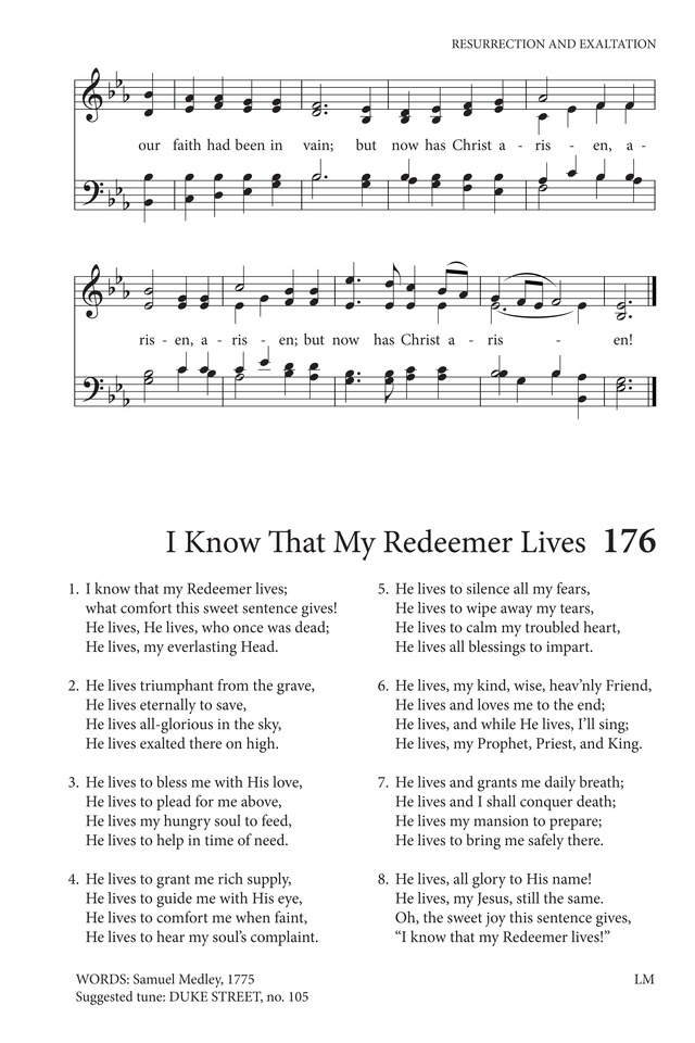 Hymns to the Living God 176  I know that my Redeemer lives | Hymnary org