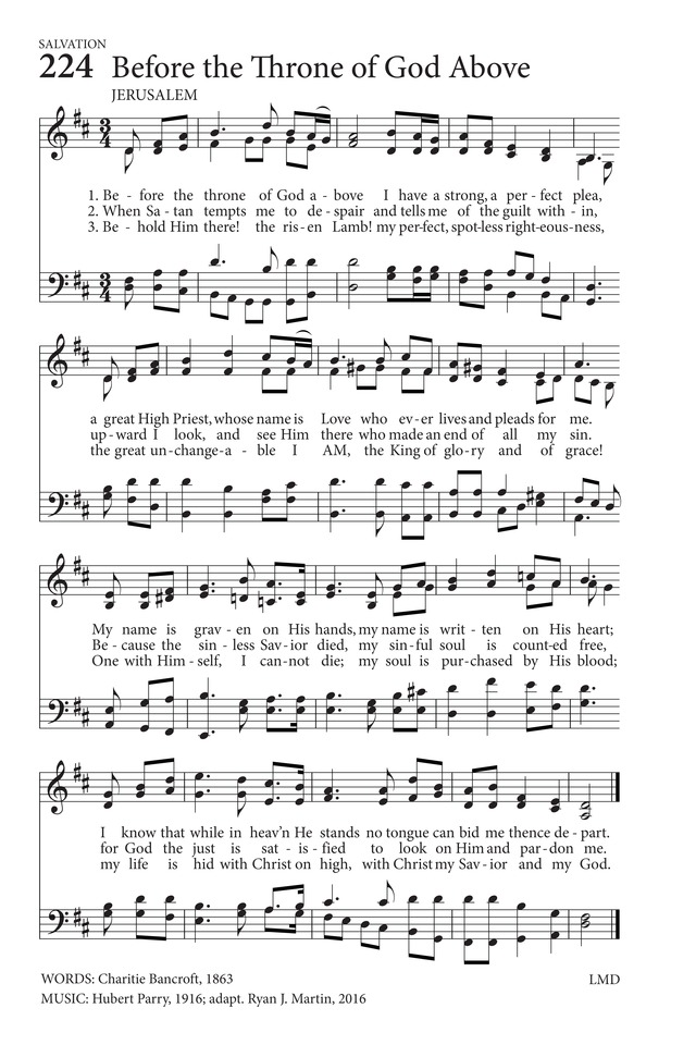 hymns to the living god 224  before the throne of god