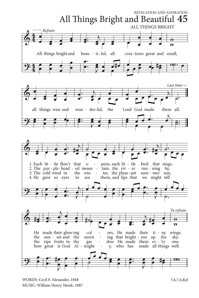 Lyric go tell it on the mountain hymn lyrics : All Things Bright and Beautiful | Hymnary.org