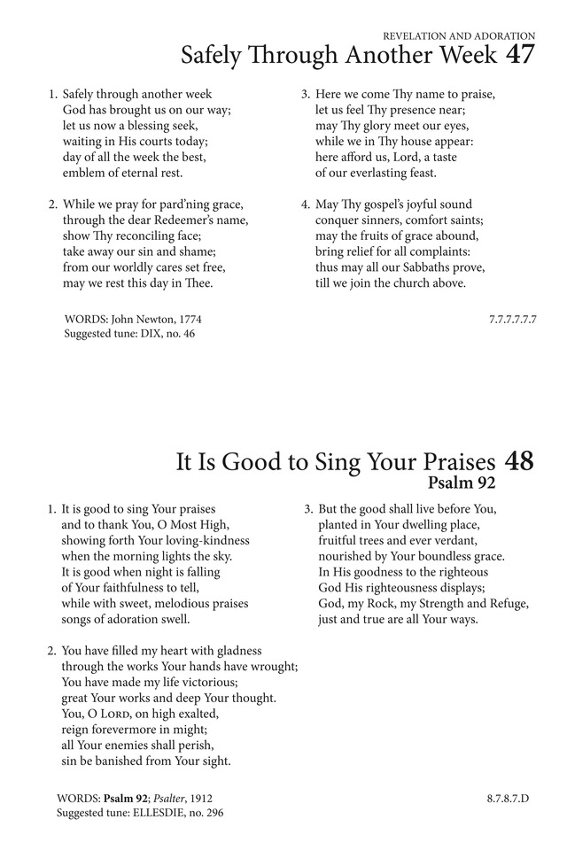 Hymns to the Living God 48  It is good to sing Your praises