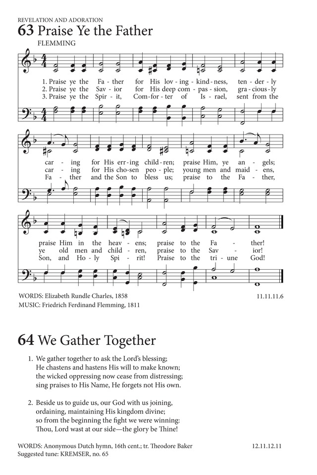 Lyric count your blessings hymn lyrics : We Gather Together | Hymnary.org