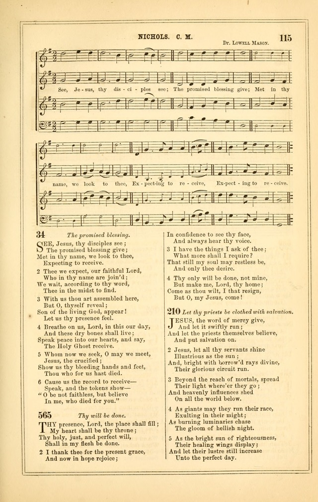 The Heart and Voice: or, Songs of Praise for the Sanctuary: hymn and tune book, designed for congregational singing in the Methodist Episcopal Church, and for congregations generally page 115