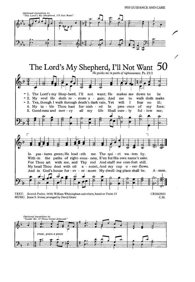 The Hymnal for Worship and Celebration 50. The Lord's my Shepherd ...