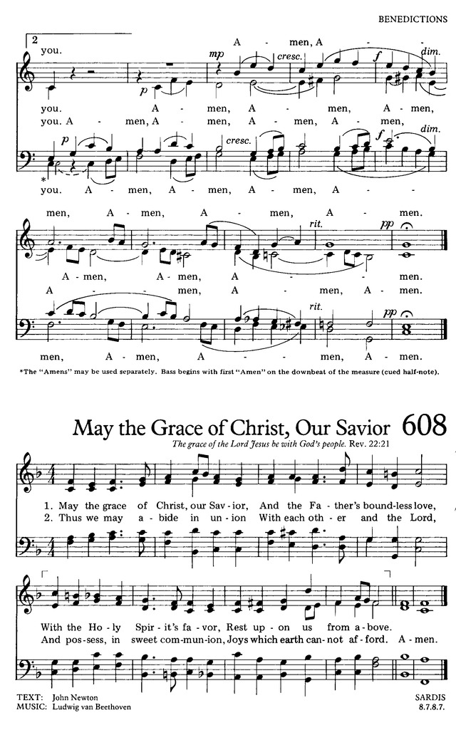 The Hymnal For Worship And Celebration 607 The Lord Bless You And Keep You Hymnary Org