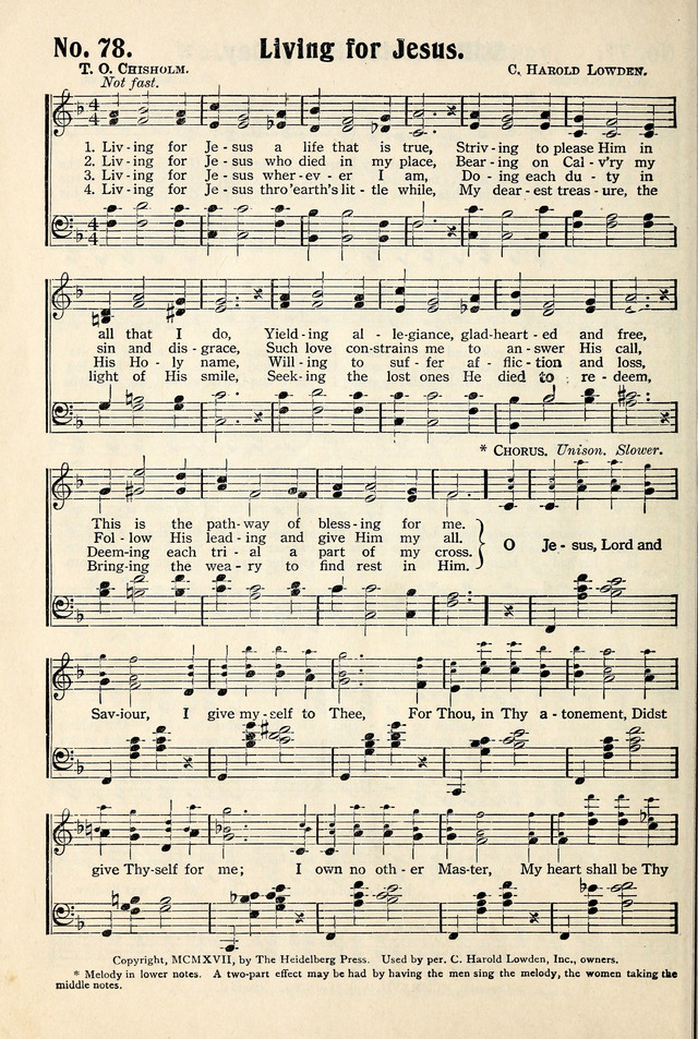Hymns Of Pentecost 78 Living For Jesus A Life That Is True Hymnary Org