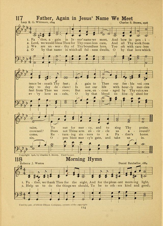 Junior Carols: a collection of sacred songs for Junior Societies, Sunday Schools, the Home Circle page 114