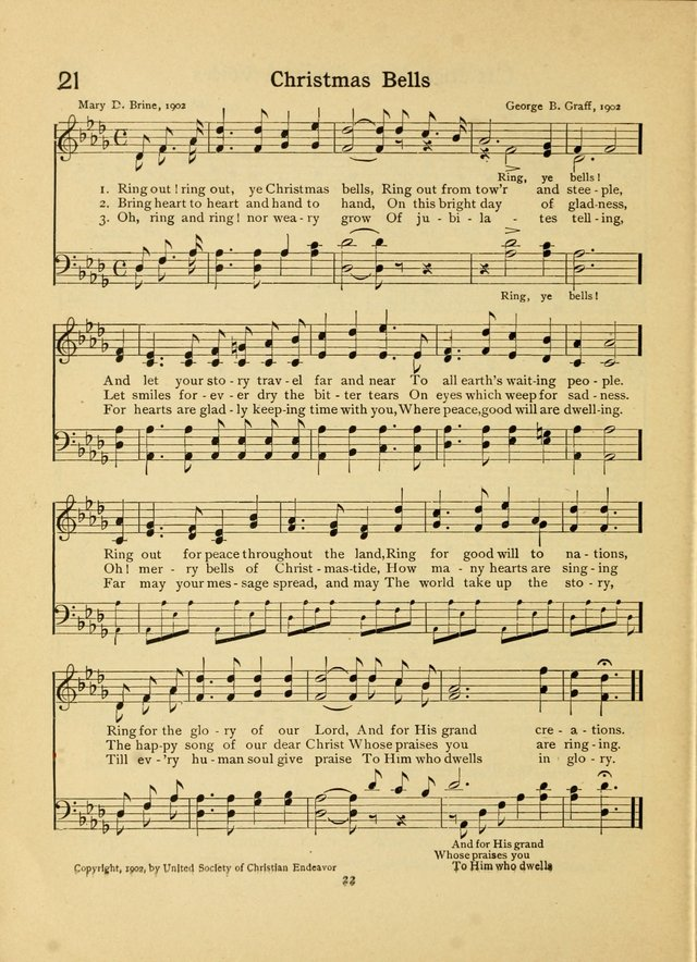 Junior Carols: a collection of sacred songs for Junior Societies, Sunday Schools, the Home Circle page 22
