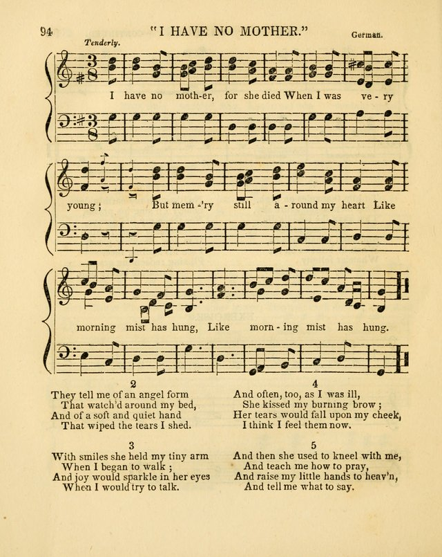 Juvenile Songs: religious, moral and sentimental, with brief exercises, adapted to the purposes of primary instruction page 94