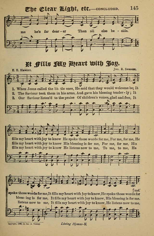 Living Hymns: for use in the Sabbath School, Christian Endeavor Meetings, the church & home page 145